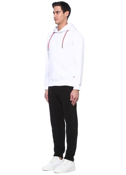 Exxxtra Beyaz Kapüşonlu Yazı Nakışlı Sweatshirt