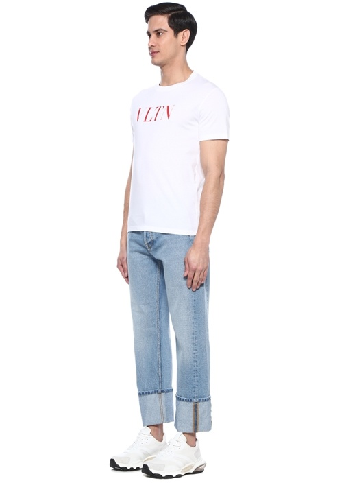 Straight Fit Yüksek Bel Paça Detaylı Jean Pantolon