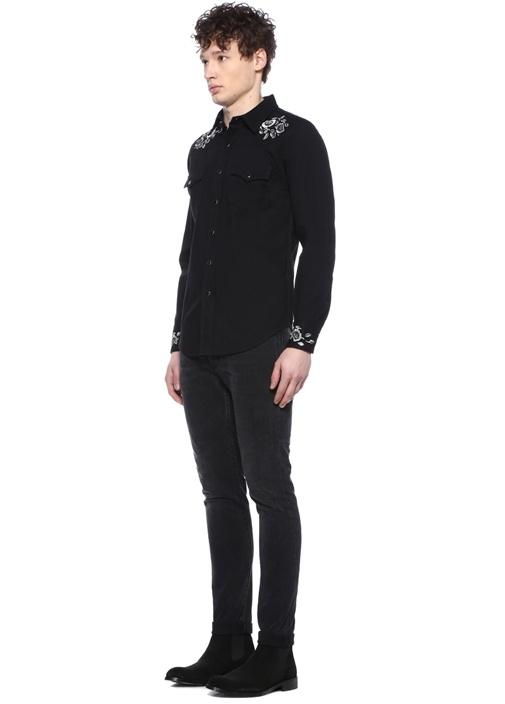 Siyah İngiliz Yaka Çiçek Desen Jakarlı Gömlek