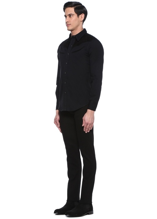 Siyah İngiliz Yaka Garnili Gömlek