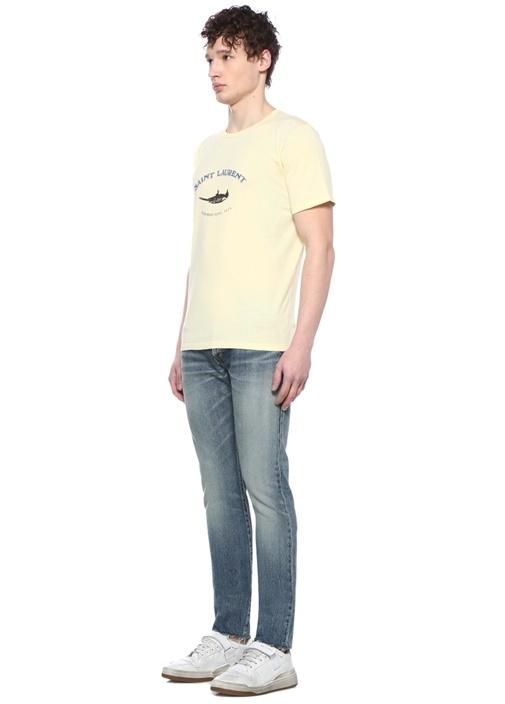Sarı Bisiklet Yaka Logo Baskılı T-shirt