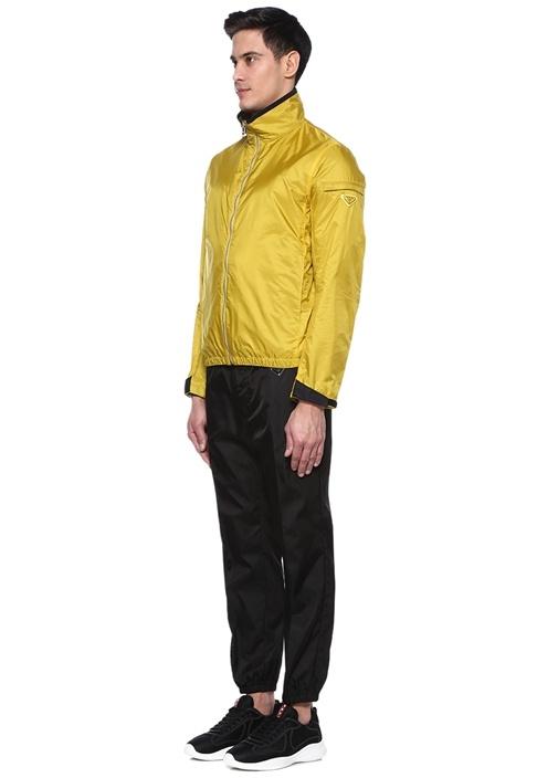 Sarı Dik Yaka Logolu Mont