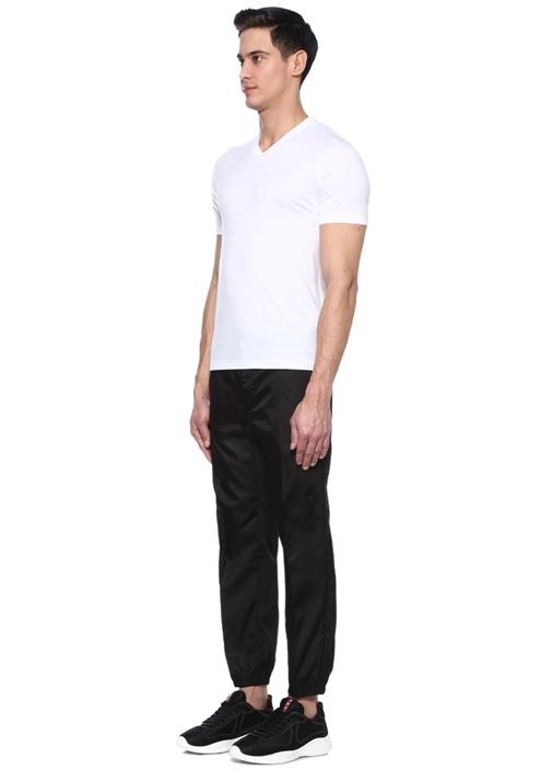 Siyah Normal Bel Dar Paça Logolu Pantolon
