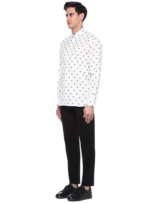 Beyaz Mikro Palmiye Desenli İngiliz Yaka Gömlek