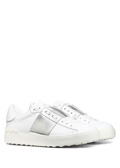 Open Beyaz Silver Şeritli Kadın Deri Sneaker