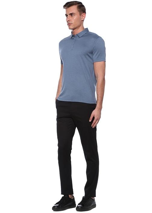 Mavi Polo Yaka İpek T-shirt