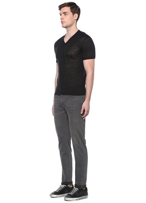 Siyah V Yaka Basic Keten T-shirt