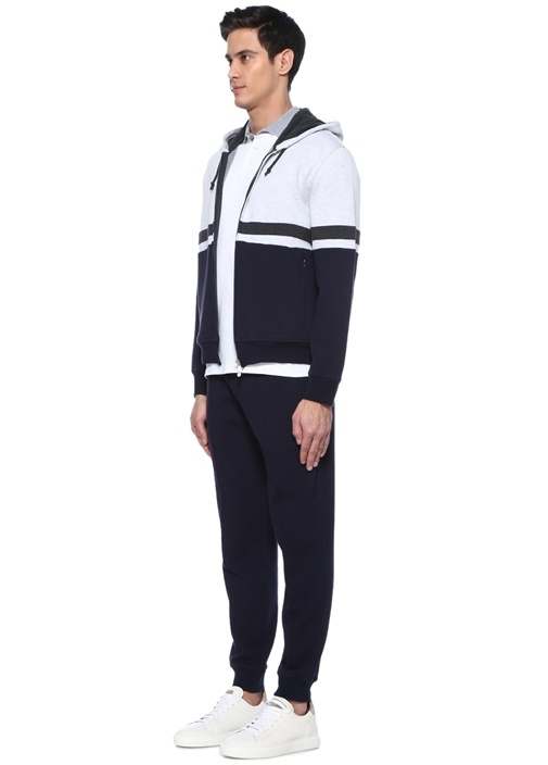Lacivert Gri Kapüşonlu Şeritli Sweatshirt