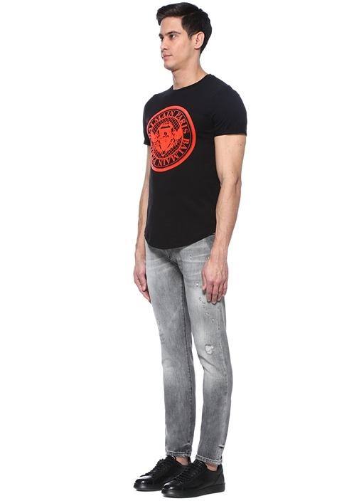 Slim Fit Gri Yıpratma Detaylı Jean Pantolon