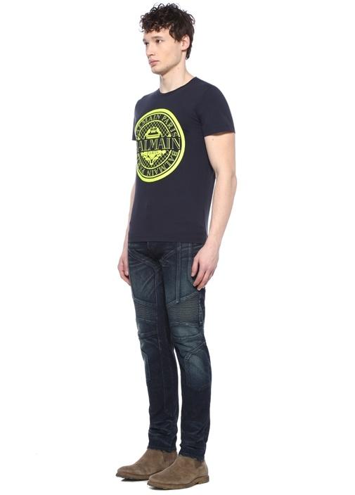 Lacivert Neon Sarı Logo Baskılı Basic T-shirt