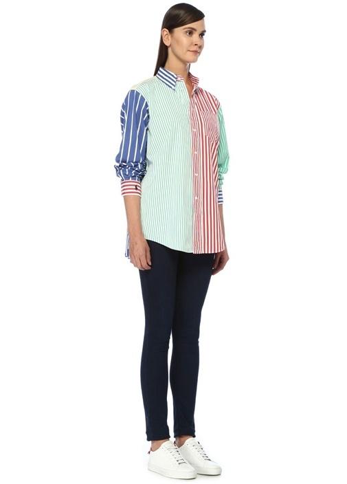 Big Shirt Fit Colorblock Çizgili Gömlek