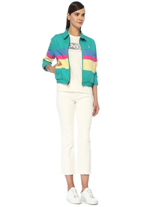 Relaxed Fit Colorblock Fermuarlı PoplinMont