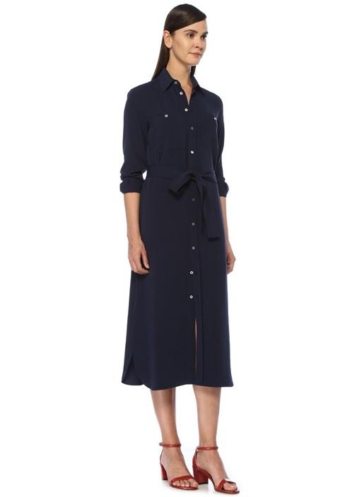 Straight Fit Lacivert Midi Krep Gömlek Elbise