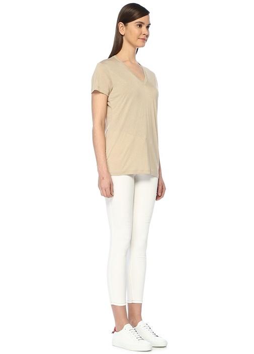 Beyaz Yüksek Bel Dikişli Slim Fit Jean Pantolon