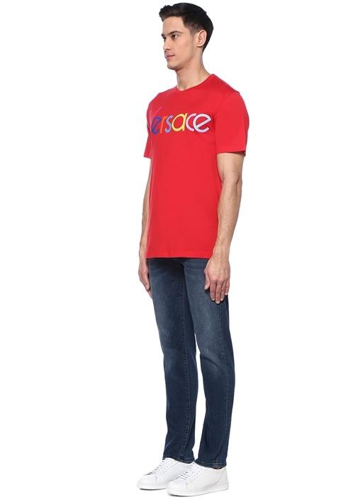 Vintage Kırmızı Bisiklet Yaka Logo Nakışlı T-shirt