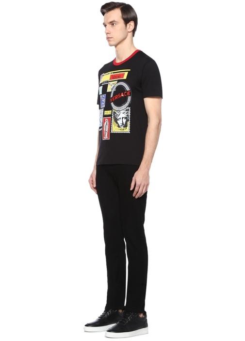 Siyah Medusa Baskılı Logolu Basic T-shirt