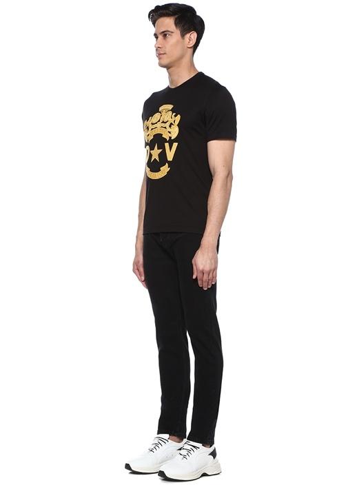 Siyah Logolu Patchli Basic T-shirt