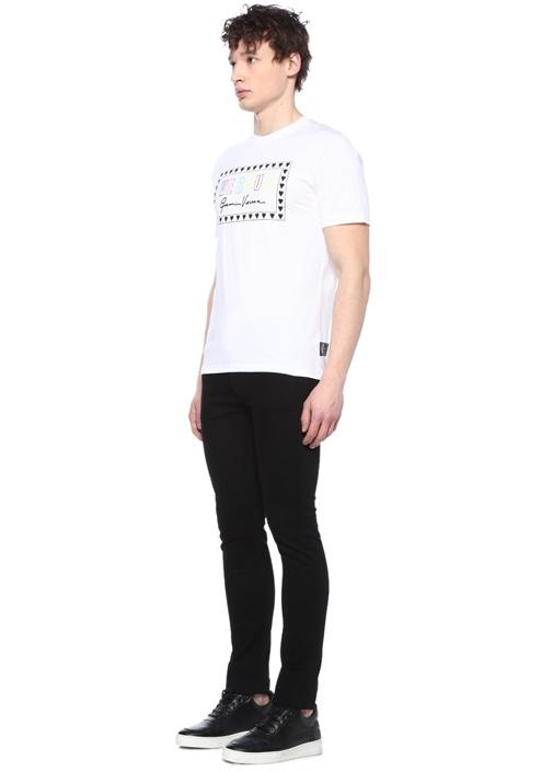 Versus Slim Fit Beyaz Logo Baskılı T-shirt