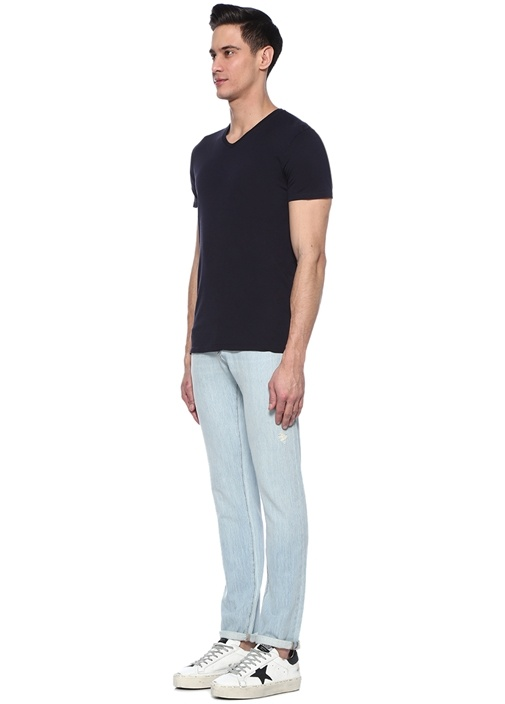 Decatur Lacivert V Yaka Basic T-shirt