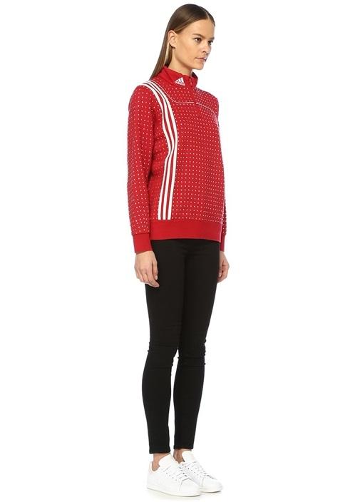 Kırmızı Dik Yaka Taş Baskılı Logolu Sweatshirt