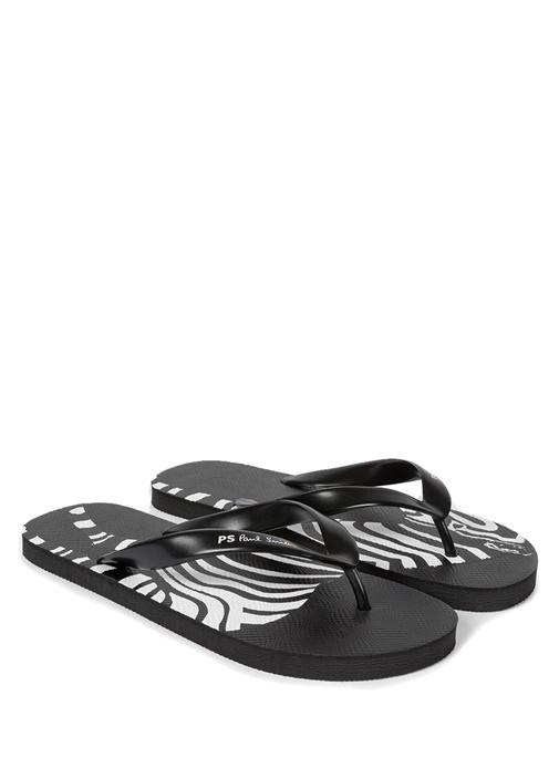 Siyah Beyaz Zebra Baskılı Erkek Plaj Terliği