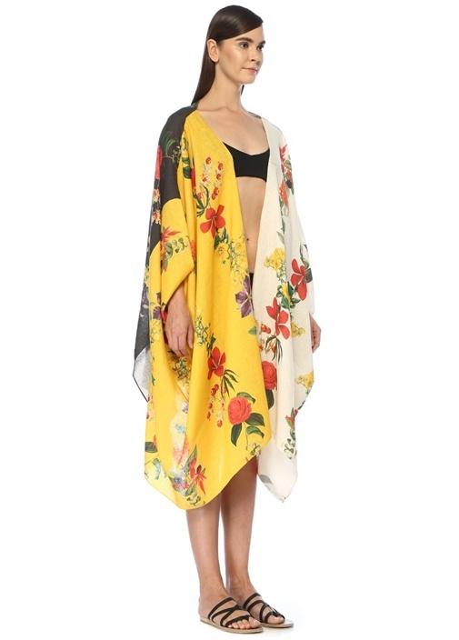 Sarı Siyah Çiçek Desenli Keten Tunik