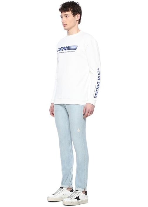 Beyaz Mavi Logo Baskılı Sweatshirt