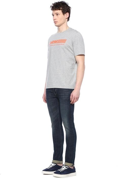 Gri Turuncu Logo Baskılı T-shirt