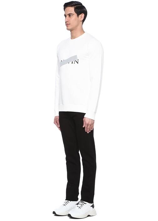 Beyaz Bisiklet Yaka Metalik Şeritli Sweatshirt