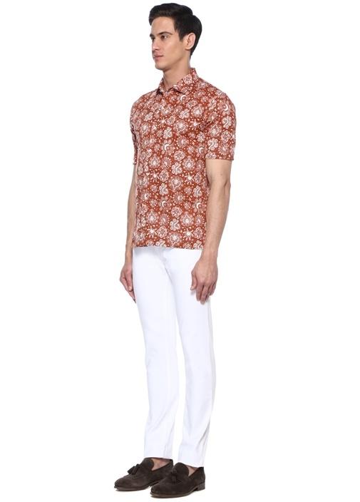 Kiremit Polo Yaka Etnik Desenli Gömlek