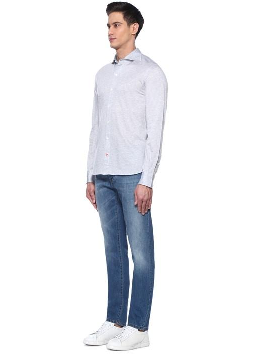 Slim Fit Mavi Aksesuar Detaylı Jean Pantolon