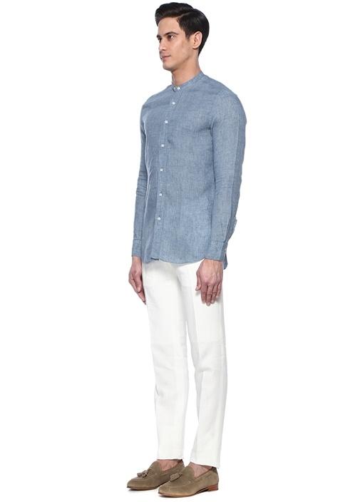 Beyaz Boru Paça Keten Pantolon