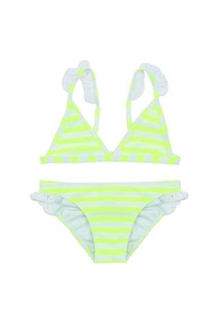 Kız Çocuk Neon Sarı Çizgili Dantelli Bikini Takımı 7-8 Yaş EU
