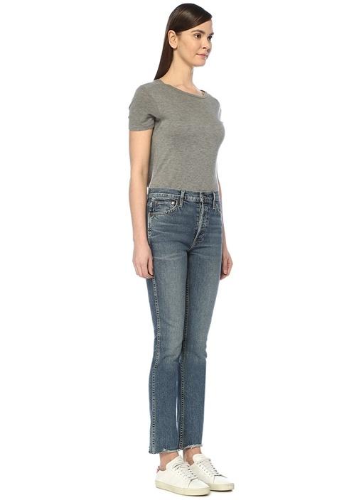 Double Needle Mavi Asimetrik Paçalı Jean