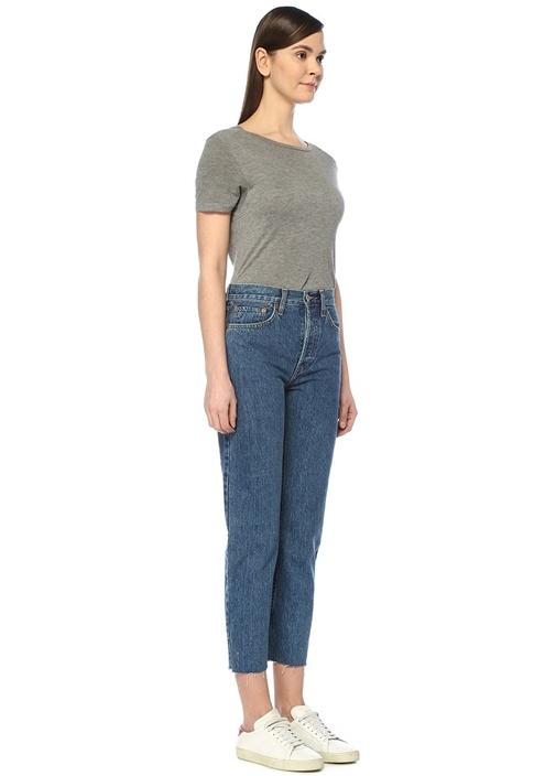 Stove Pipe Mavi Yüksek Bel Boru Paça Jean Pantolon