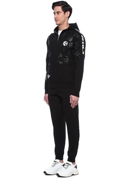 Siyah Kapüşonlu Logolu Garnili Sweatshirt
