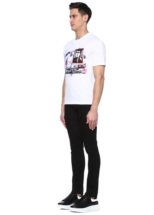 Beyaz Bisiklet Yaka Baskılı Patchli T-shirt