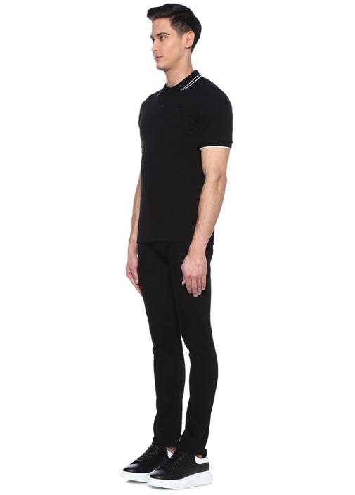 Siyah Polo Yaka Şeritli Logolu T-shirt