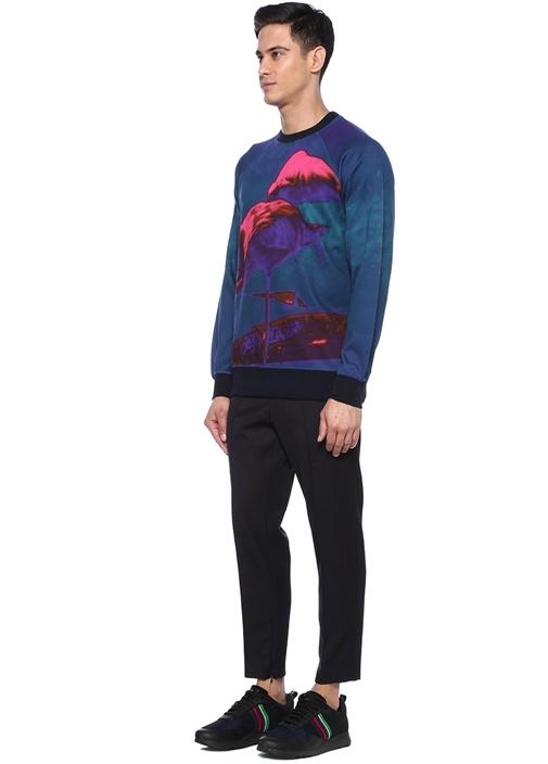Mor Karışık Baskılı Sweatshirt