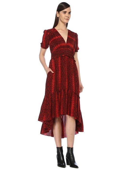 Kırmızı V Yaka Yılan Desenli Asimetrik Midi Elbise