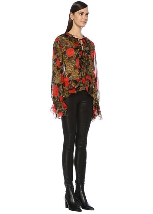 Leopar Çiçek Desenli Fırfırlı Transparan Bluz
