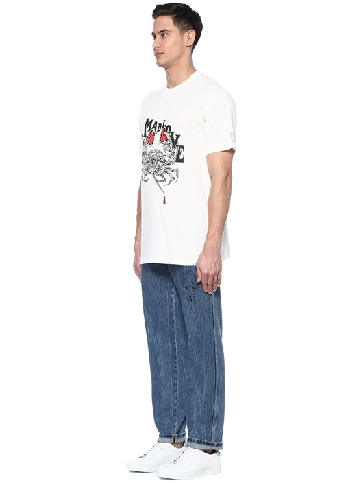 Beyaz Baskılı Basic T-shirt