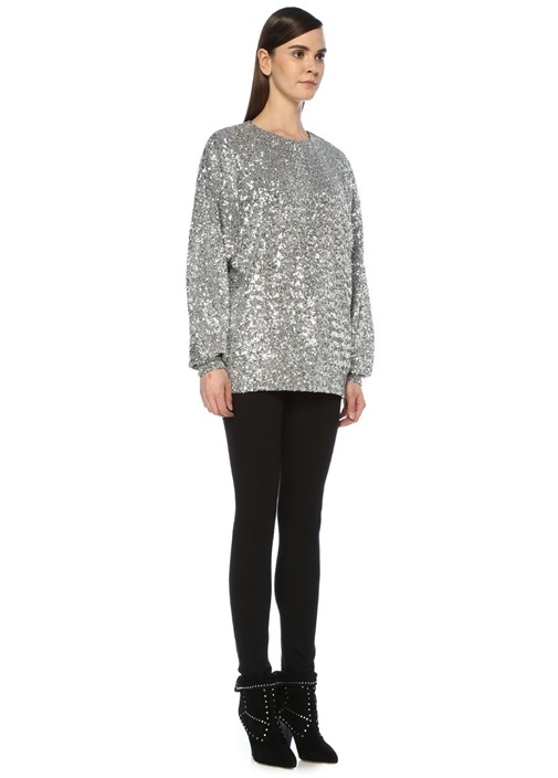 Olivia Silver Payet İşlemeli Sweatshirt