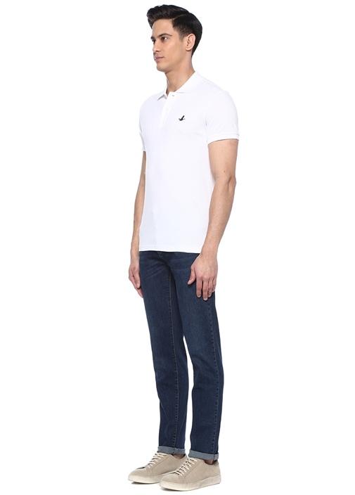 Slim Fit Beyaz Logo Nakışlı Polo Yaka T-shirt