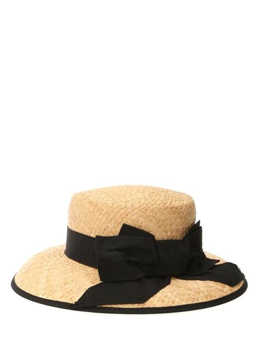 Bej Fiyonk Detaylı Hasır Görünümlü Kadın Şapka