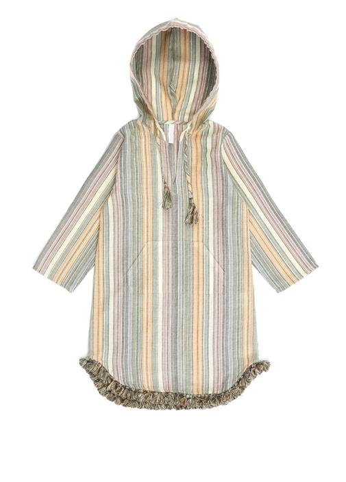 Juniper Haki Kapüşonlu Simli Kız Çocuk Elbise