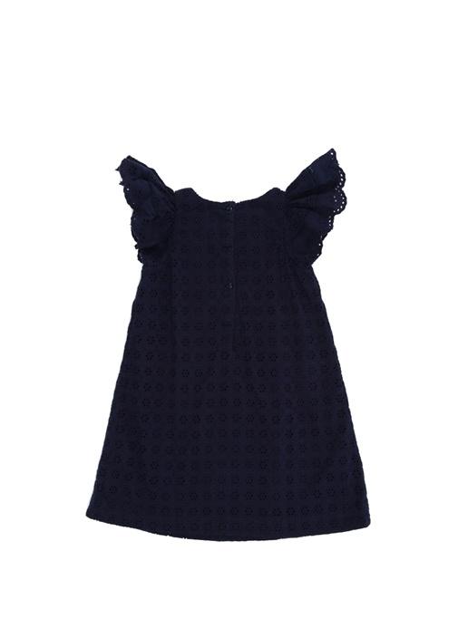 Lacivert Kolları Volanlı Kız Çocuk Dantel Elbise
