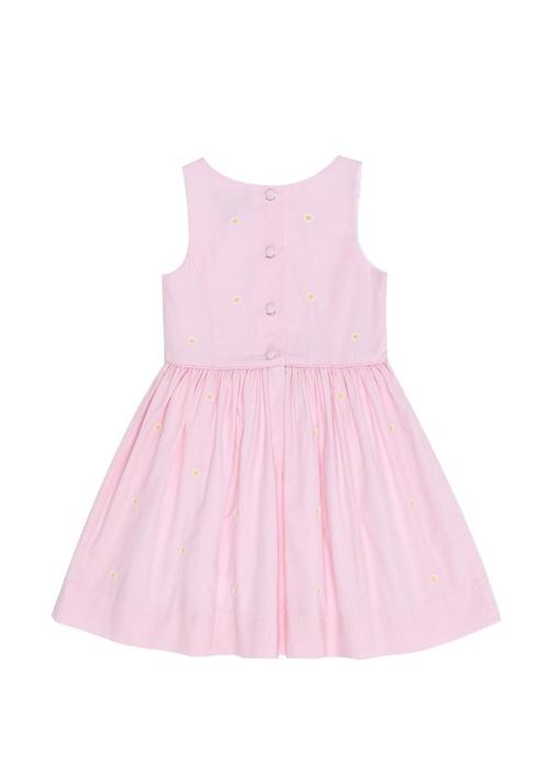 Pembe Papatya Nakışlı Kız Çocuk Elbise