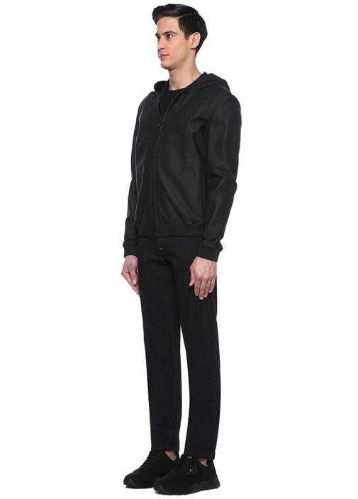 Siyah Normal Bel Logo Baskılı Jean Pantolon