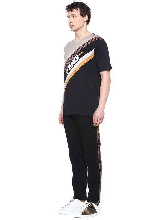 Siyah Logo Şeritli Pileli Pantolon